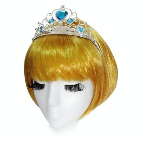 ЭЛЬЗА. Корона диадема с голубыми камнями серебристая