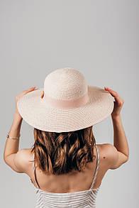 Широкополая шляпа FAMO Шляпа широкополая Топси пудровая 55 (SHL-1912)