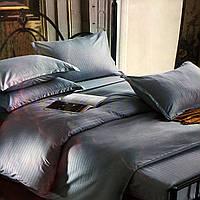 """""""Серый"""" Комплект постельного белья Lux евро размер 200*220,ткань страйп-сатин"""