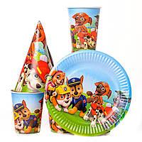 Набор детской одноразовой посуды щенячий патруль