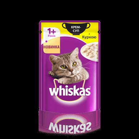 Крем-суп с Курицей влажный консервированный корм для взрослых кошек 85 г Whiskas Вискас