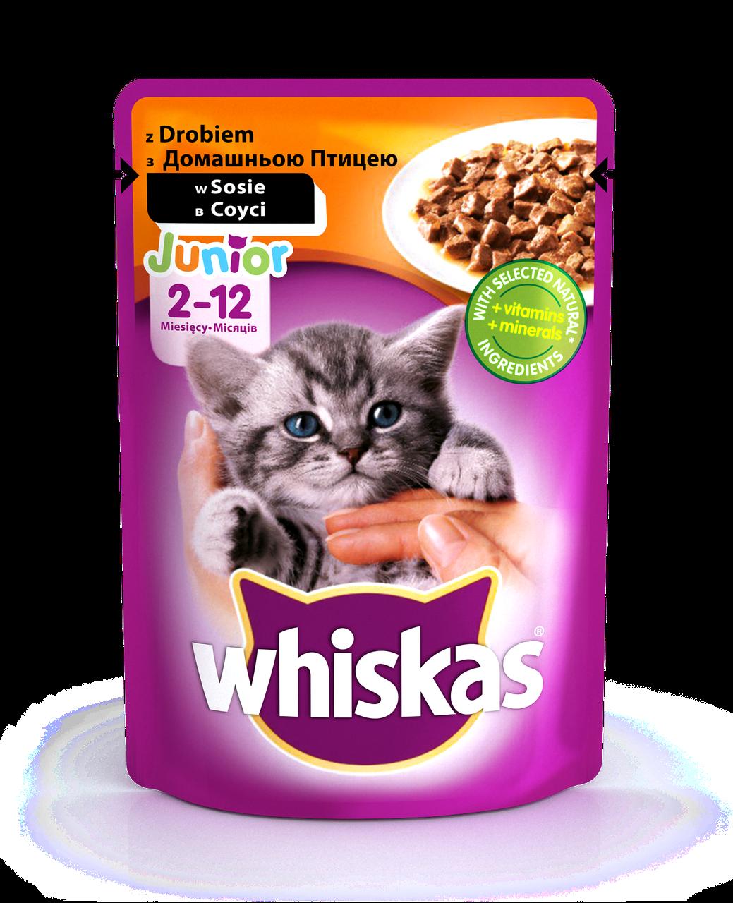 Влажный консервированный корм с Домашней птицей в соусе для Котят 100 г Whiskas Вискас