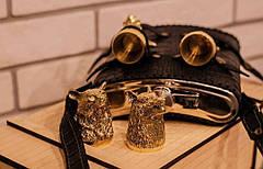 """Набір бронзових мисливських чарок з великою флягою """"Єгер"""". Гідний подарунок для чоловіків на день народження, фото 3"""