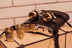 """Набір бронзових мисливських чарок з великою флягою """"Єгер"""". Гідний подарунок для чоловіків на день народження, фото 2"""