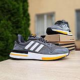 🔥 Мужские кроссовки спортивные повседневные Adidas ZX 500 серые с оранжевым сетка/замша, фото 2