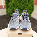 🔥 Мужские кроссовки спортивные повседневные Adidas ZX 500 серые с оранжевым сетка/замша, фото 3