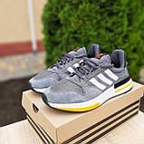 🔥 Мужские кроссовки спортивные повседневные Adidas ZX 500 серые с оранжевым сетка/замша, фото 4