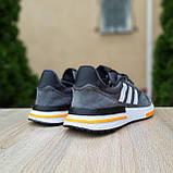 🔥 Мужские кроссовки спортивные повседневные Adidas ZX 500 серые с оранжевым сетка/замша, фото 5