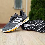 🔥 Мужские кроссовки спортивные повседневные Adidas ZX 500 серые с оранжевым сетка/замша, фото 6