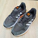 🔥 Мужские кроссовки спортивные повседневные Adidas ZX 500 серые с оранжевым сетка/замша, фото 8