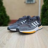 🔥 Мужские кроссовки спортивные повседневные Adidas ZX 500 серые с оранжевым сетка/замша, фото 10