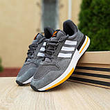🔥 Мужские кроссовки спортивные повседневные Adidas ZX 500 серые с оранжевым сетка/замша, фото 9