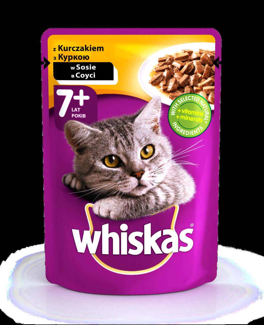 Влажный консервированный корм с Курицей в соусе для кошек старше 7+ 100 г Whiskas Вискас