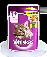 Влажный консервированный корм с Курицей в желе для взрослых кошек 85 г Whiskas Casserole Вискас