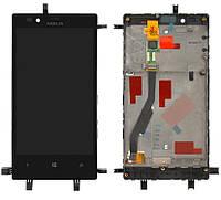Дисплейный модуль (дисплей + сенсор) для Nokia Lumia 720, с рамкой, черный, оригинал