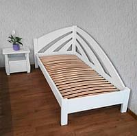 """Детская кровать из массива дерева """"Радуга"""" (90х200) белая 90х200, Слоновая кость, правый"""