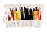 Профессиональный набор кистей для рисования 36 штук в тканевом футляре
