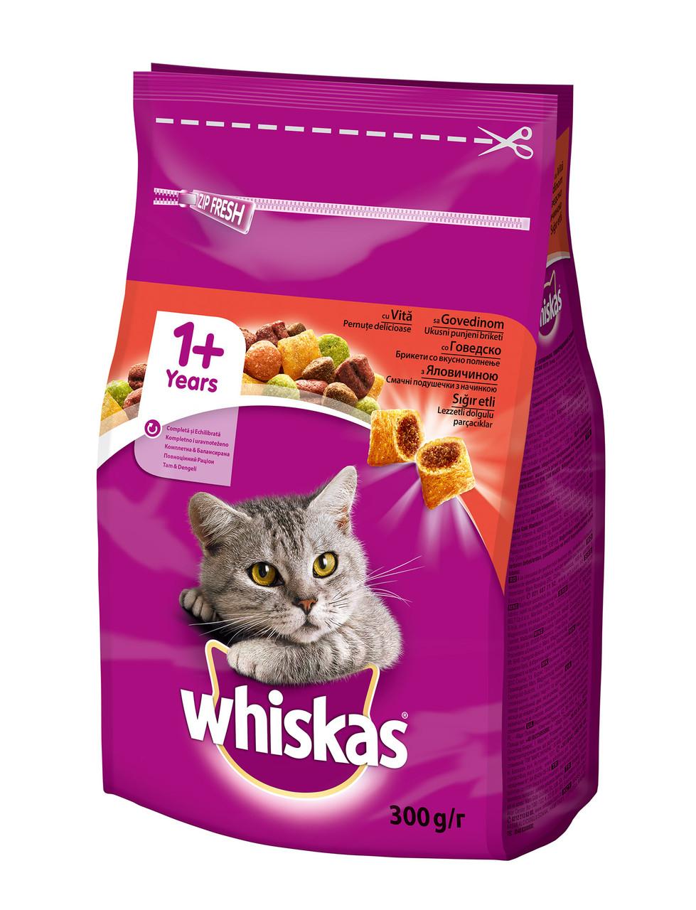 Сухой корм с Говядиной для взрослых кошек 300 г Whiskas Вискас