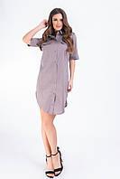 Платье - рубашка  арт 827 пепельый беж в горох
