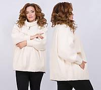 """Женское тёплое пальто-кардиган в больших размерах 012 """"Лама Змейка"""" в расцветках"""
