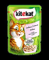 Влажный консервированный корм с Лососем в соусе для взрослых кошек 100 г Kitekat Китикэт
