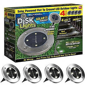 Светильник на солнечной батарее Disk Lights MOD-L015-1/4шт в комплекте! Садовый светильник