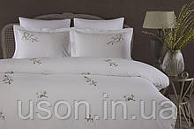 Комплект постельного белья сатин люкс Pepper home евро размер Mia yesil