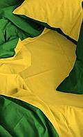 КОМПЛЕКТ ПОСТЕЛЬНОГО БЕЛЬЯ. Ткань БЯЗЬ. размер - ЕВРО-МАКСИ. Цвет салатовый, желтый однотонный