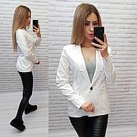 Жакет / пиджак женский длинный рукав + подкладка удлиненный женский арт. S1098 белый / белого цвета