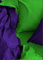 КОМПЛЕКТ ПОСТЕЛЬНОГО БЕЛЬЯ. Ткань БЯЗЬ. размер - ЕВРО-МАКСИ. Цвет салатовый, фиолетовый однотонный