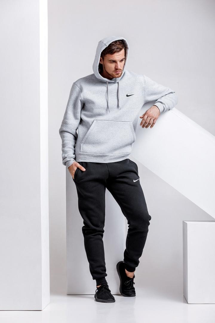 Модный мужской спортивный костюм-чёрные штаны и серая худи   S, M, L, XL, XXL