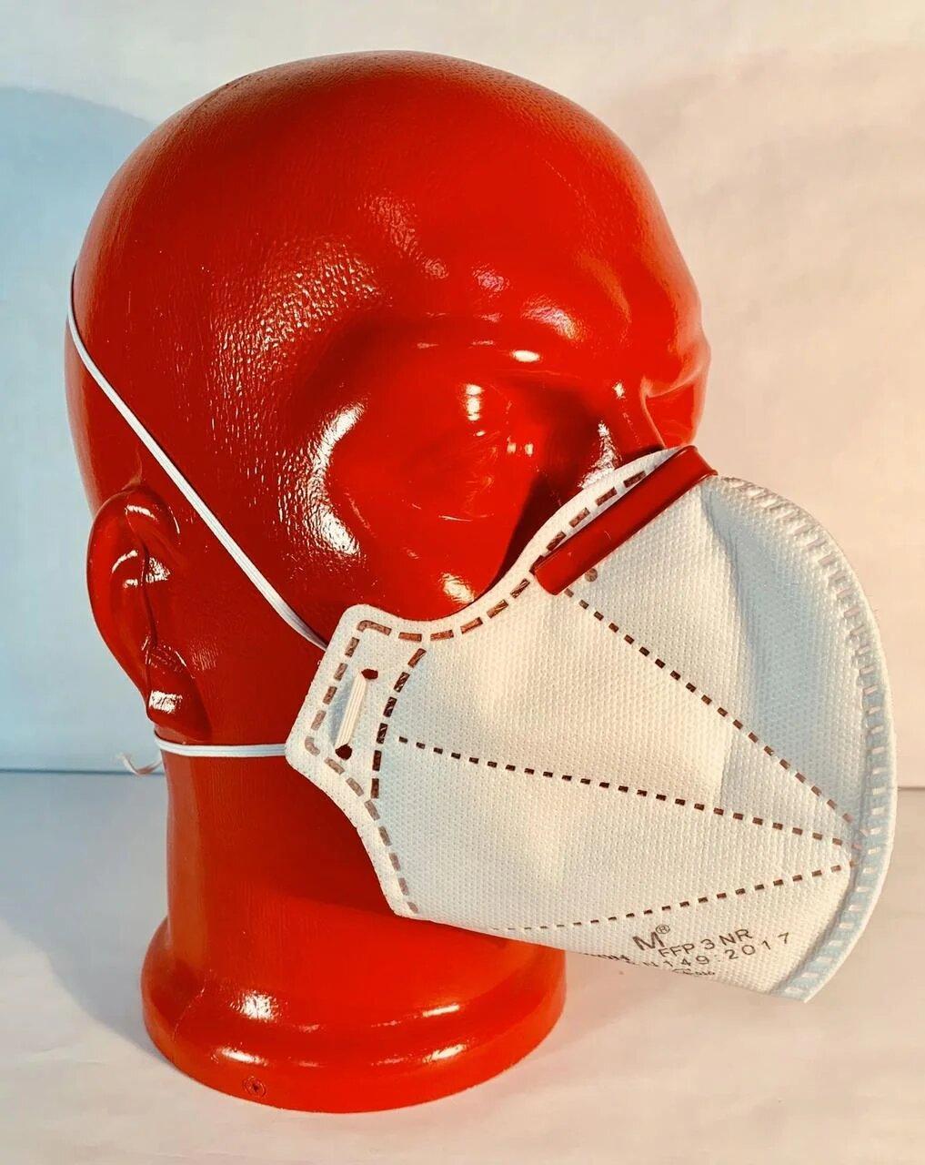 Респиратор маска Микрон FFP3 без клапана Белый с красным (бук3)