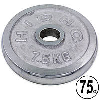 Блины (диски) хромированные d-52мм HIGHQ SPORT ТА-1838 7,5кг (металл хромированный)