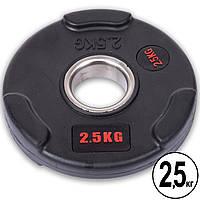 Блины (диски) обрезиненные с тройным хватом и металлической втулкой d-51мм Life Fitness SC-80154B-2_5 2,5кг