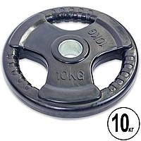 Блины (диски) обрезиненные с тройным хватом и металлической втулкой d-52мм Record TA-5706-10 10кг (черный)