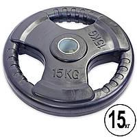 Блины (диски) обрезиненные с тройным хватом и металлической втулкой d-52мм TA-5706-15 15кг (черный)