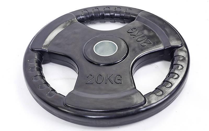 Блины (диски) обрезиненные с тройным хватом и металлической втулкой d-52мм Record TA-5706-20 20кг (черный)