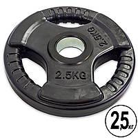 Блины (диски) обрезиненные с тройным хватом и металлической втулкой d-52мм Record TA-8122- 2,5 2,5кг (черный)