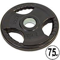 Блины (диски) обрезиненные с тройным хватом и металлической втулкой d-52мм Record TA-8122- 7,5 7,5кг (черный)