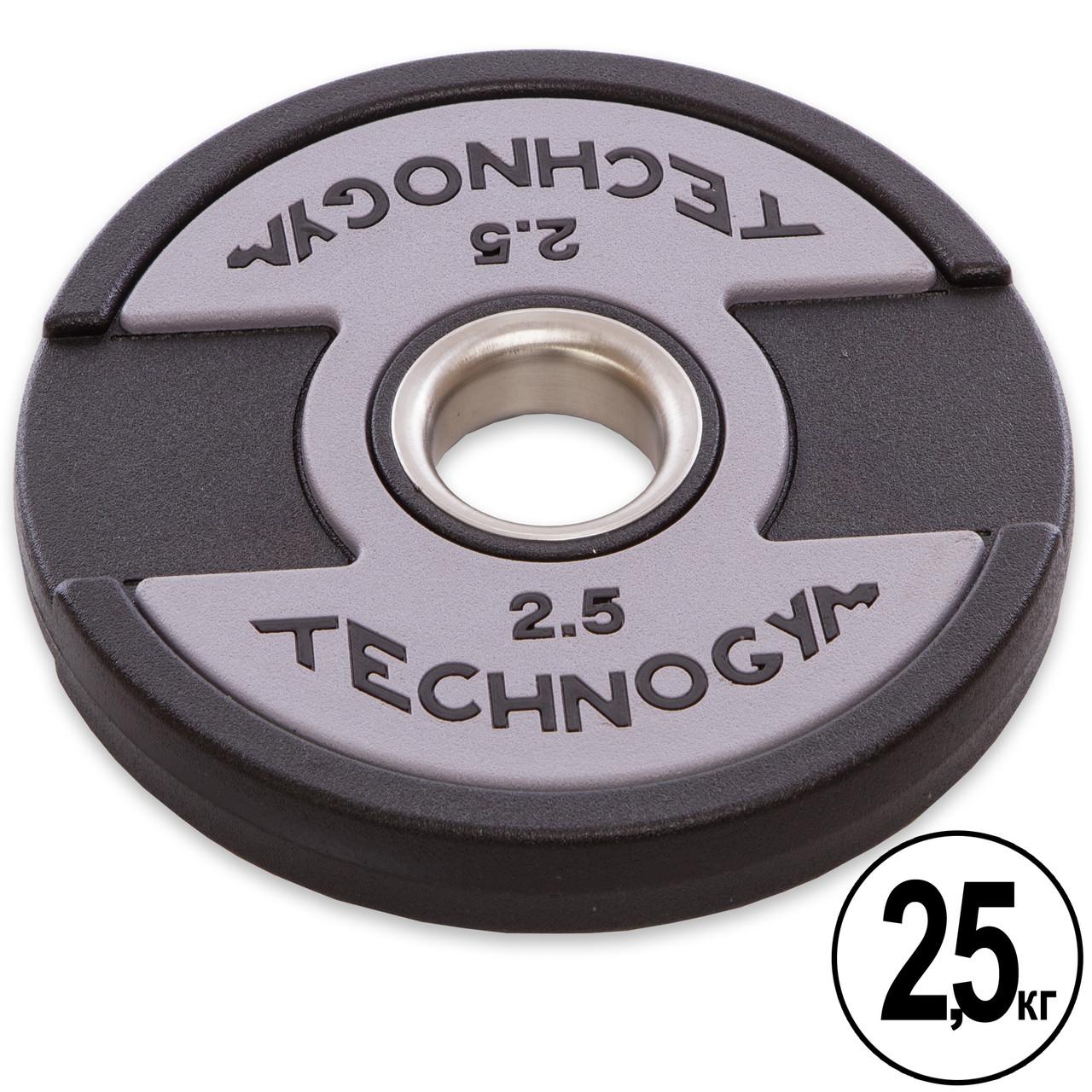 Блины (диски) полиуретановые с хватом и металлической втулкой d-51мм TECHNOGYM TG-1837-2_5 2,5кг (черный)