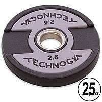 Блины (диски) полиуретановые с хватом и металлической втулкой d-51мм TECHNOGYM TG-1837-2_5 2,5кг (черный), фото 1