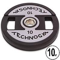 Блины (диски) полиуретановые с хватом и металлической втулкой d-51мм TECHNOGYM TG-1837-10 10кг (черный), фото 1