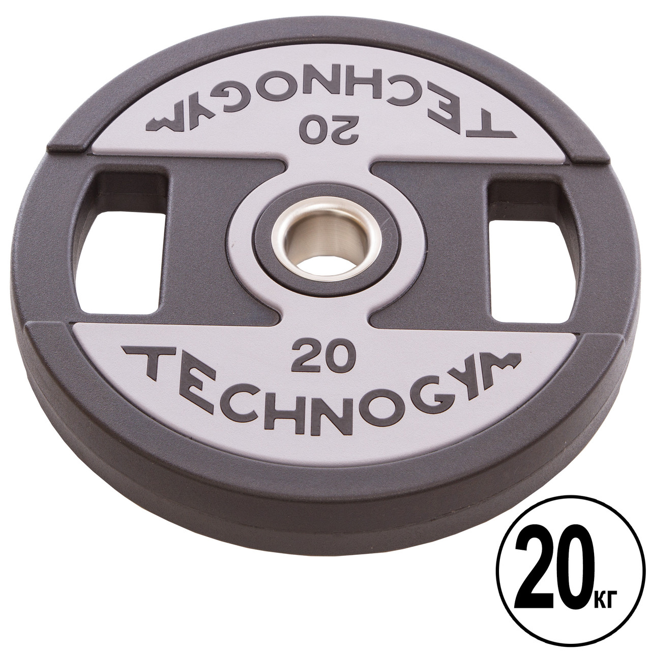 Блины (диски) полиуретановые с хватом и металлической втулкой d-51мм TECHNOGYM TG-1837-20 20кг (черный)
