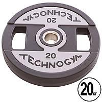 Блины (диски) полиуретановые с хватом и металлической втулкой d-51мм TECHNOGYM TG-1837-20 20кг (черный), фото 1