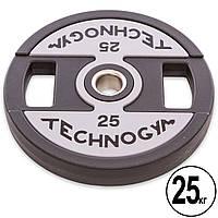 Блины (диски) полиуретановые с хватом и металлической втулкой d-51мм TECHNOGYM TG-1837-25 25кг (черный), фото 1