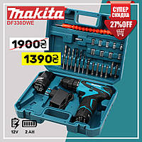 Аккумуляторный шуруповерт Makita DF330DWE (12V, 2AН) с набором. Шуруповёрт Макита