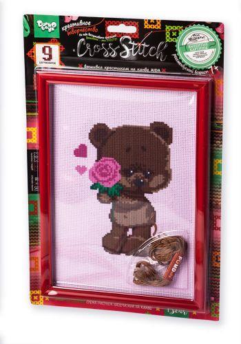 """Вышивка крестиком на канве """"Cross Stitch: Мишка с розой"""" VKB-01-06"""
