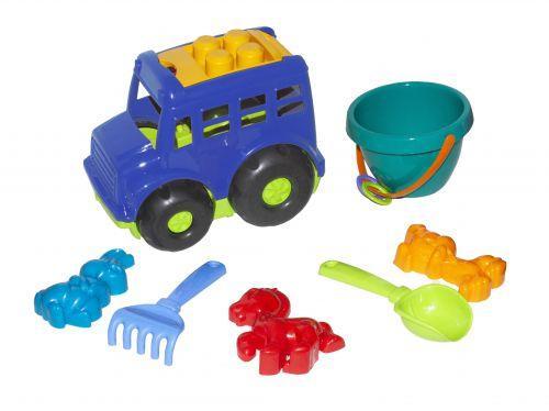 """Автобус """"Бусик"""" №3 с песочным набором синий 0107"""