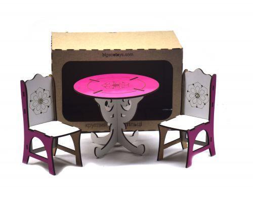Круглый стол + 2 стула (бело-розовый) Б36р