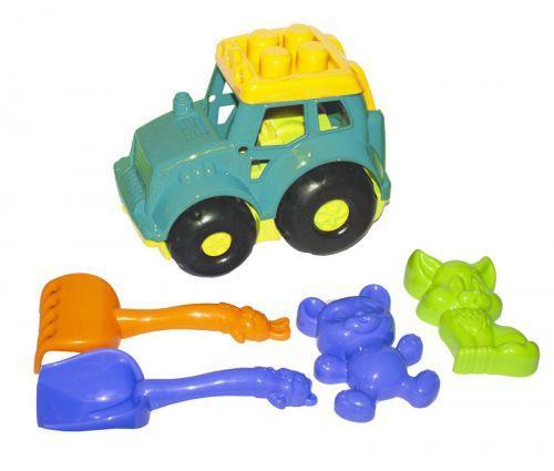 """Трактор """"Кузнечик №2"""" с песочным набором (бирюзовый) 0213"""